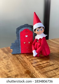 Christmas Elf and Festive Fairy Door for Holiday Decoration. Great for Elf on the Shelf