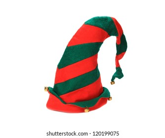 Christmas elf hat on white background