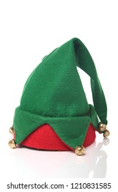 Christmas elf hat on a white surface