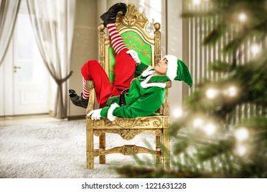 Christmas elf and home interior with window and christmas tree