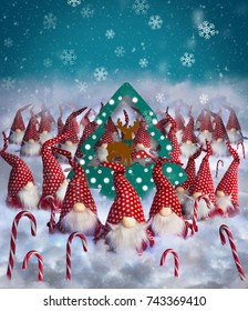 christmas elves decorations congratulations postcard background - Animated Christmas Elves Decorations