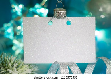 Christmas empty card and New Year silver blue decoration abstract background concept