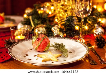 Christmas Eve Dinner Party Table Setting Stock Photo Edit Now