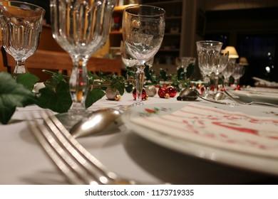 A Christmas eve dinner table