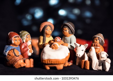 Christmas eve in traditional, cultural style with little figures, and decoration
