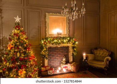 Christmas evening by candlelight. classic apartments with a fireplace, decorated tree, armchair.