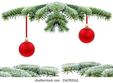 Christmas evergreen spruce tree with red glass ball on snow