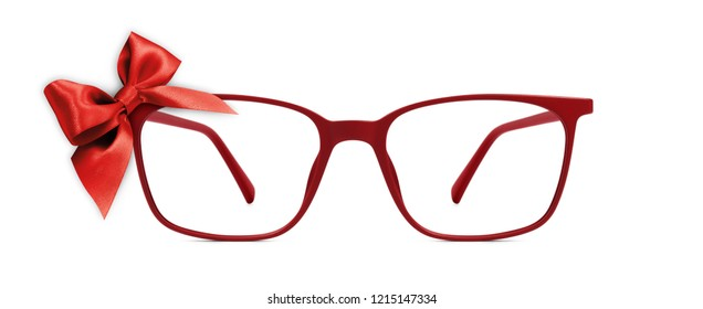 christmas eyeglasses gift card, red spectacles and red ribbon bow, isolated on white background