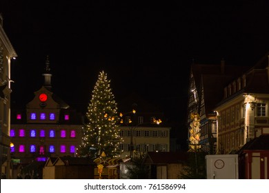 Christmas fair  with christmas decoration on a marketplace in november south german historical city near munich and stuttgart