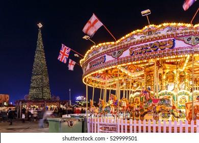 Christmas fair in Hyde park in 2016, London