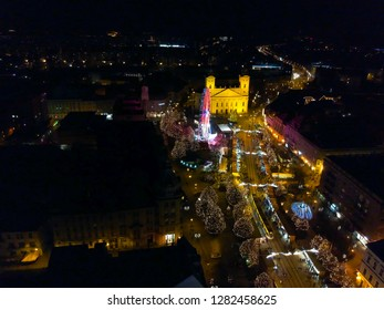 Christmas fair and night city panorama in Debrecen