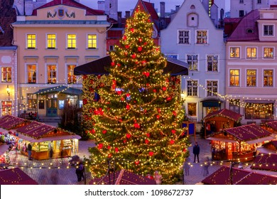 Christmas Fair and Christmas tree on the Town Hall Square. Tallinn. Estonia.
