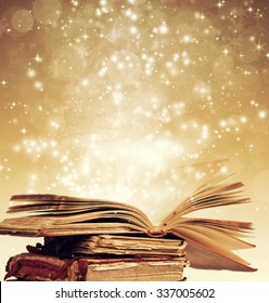 Christmas fairy-tale. Holiday background with magic book