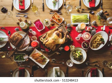 Christmas Family Dinner Table Concept - Shutterstock ID 513248413