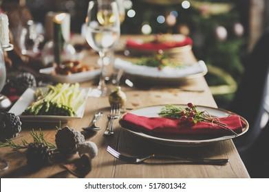 Christmas Family Dinner Table Concept - Shutterstock ID 517801342