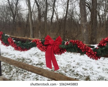 Christmas Fence with Garland and Bow