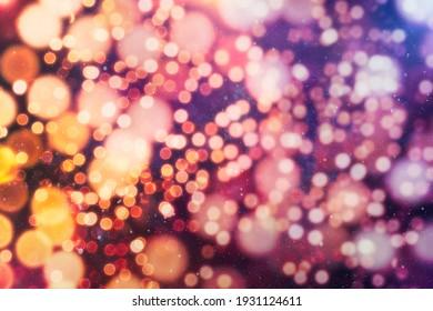 Christmas festive background. Blurred Christmas background, festive Christmas multicolor bokeh background.