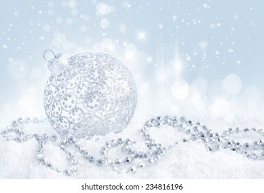 Christmas festive background with silver baubles