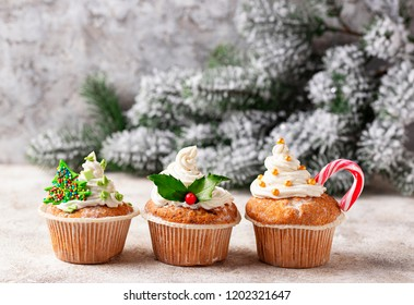 Christmas festive cupcake with different decorations. Party food