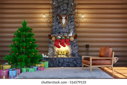 Christmas festive decorations. Room interior in log cabin building with stone fireplace. Christmas living room interior, 3D rendering