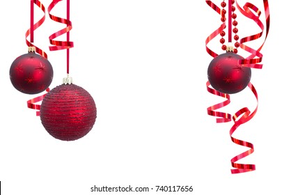 Christmas festive frame. Red Christmas balls garlands  isolated on white background.
