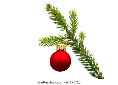 Christmas fir branch with red ball - design element