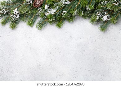 Christmas fir tree branch covered by snow on stone background. Xmas backdrop for your greeting card with space for text