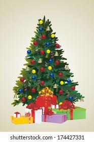 Christmas fir tree and gifts