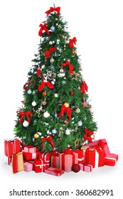 Christmas fir tree with gifts, isolated on white