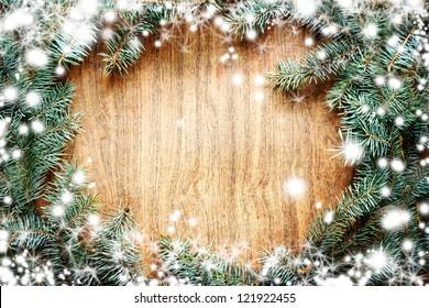 Christmas fir tree on a wooden board/Christmas green framework