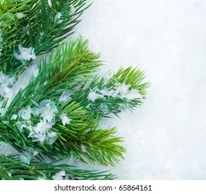 Christmas Fir Tree over Snow.Winter Background