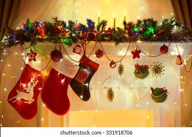 Christmas Fireplace, Family Hanging Three Socks, Xmas Lights Decoration, Tree Branches