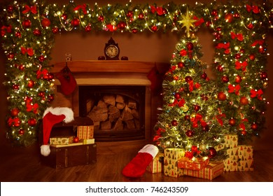 Christmas Fireplace and Xmas Tree, Presents Gifts Decorations, New Year Home Interior Background