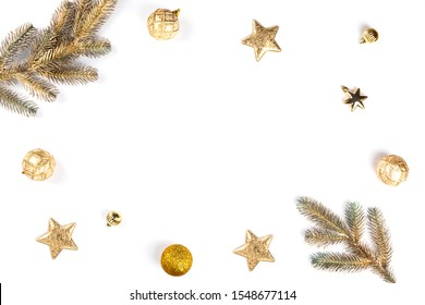 Christmas Flat Lay Background.Beautiful christmas golden shiny jewelry on a white background.New Year composition.Top view, copy space.