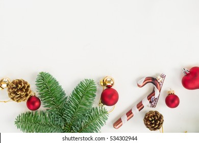 Christmas  flat lay styled border with evergreen tree twigs and copy  space