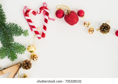 Christmas flat lay styled scene - top view scene with evergreen tree twigs and decorations