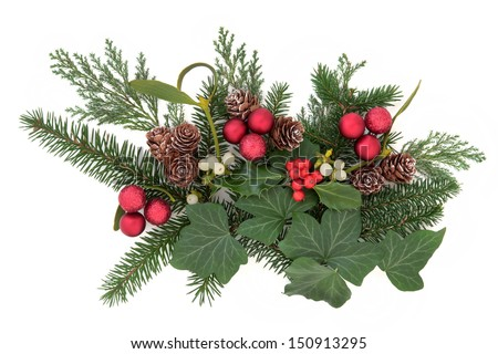 40ba6c61f16b Christmas floral arrangement with red baubles, holly, ivy, mistletoe, pine  cones and