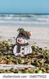 Christmas in Florida concept. Frosty the snowman craft surrounded by seed pods on New Smyrna Beach, Florida.