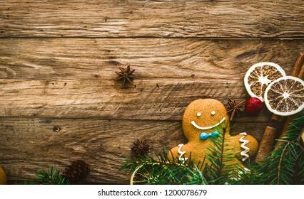 Christmas food. Gingerbread Man cookies in Christmas setting. Xmas dessert. Christmas Table