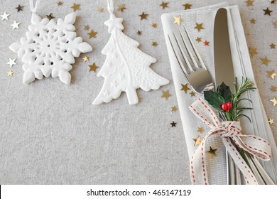 Christmas food menu, breakfast, lunch, holiday dinner table place setting, festive background