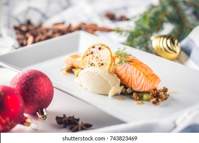 Christmas food with salmon fillet and decoration home hotel or restaurant.