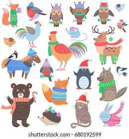 Christmas forest animals set. Retro fairy elements in winter cloth. Vintage fox, owl, cock, deer, horse, wolf, penguin, cat, rabbit, hedgehog in 60s 70s style. Comic creatures  illustration