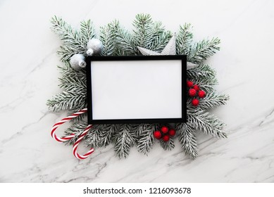 Christmas frame background with xmas tree. Merry Сhristmas greeting card. Winter season holidays. Happy New Year.
