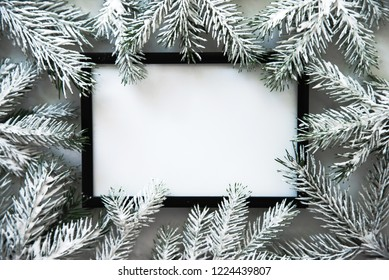 Christmas frame background with xmas tree. Merry Christmas greeting card, banner. Winter holiday theme. Happy New Year. Noel. Space for text. Flat lay