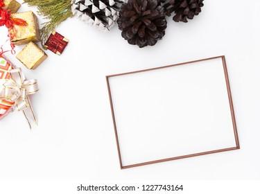 Christmas frame. Christmas gifts, Idea, bows, decor. Flat lay