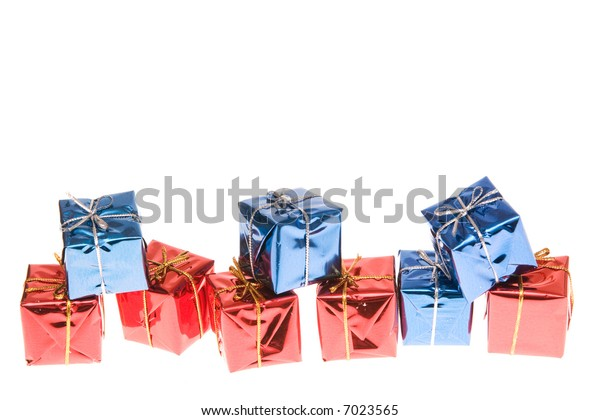 Christmas frame made of little gifts, isolated on white
