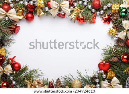 Christmas Frame Christmas Ornaments Decorations Stock Photo Edit