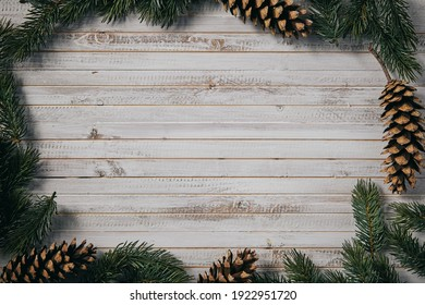 christmas frame for product display with pine cones and branches