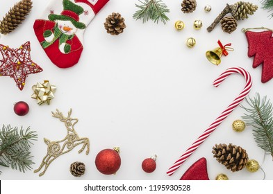 christmas frame. Red, gold and green christmas decoration on white background top view flat lay mockup. Xmas 2019