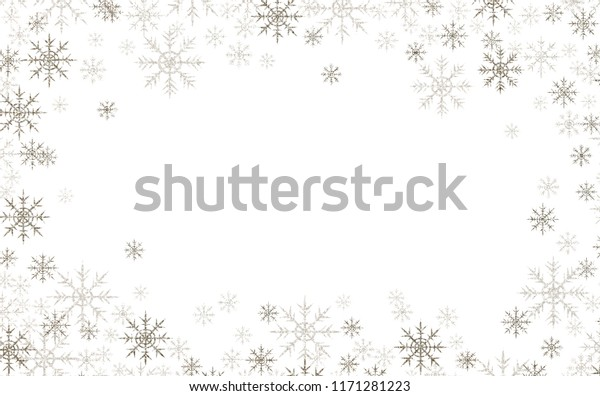 Christmas frame with silver and white snowflakes isolated on white